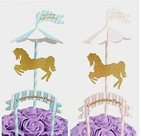 Cute Carousel Pony Cake Topper Birthday Party Baby Shower Cake Decoration Favor