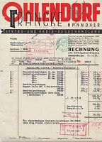 PA0028. OHLENDORF &  FRANKE, HANNOVER, Elektrotechnik. Rechnung vom 13.12.1937