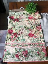 April Cornell New Table Runner Roses Holly Berries Vibrant Colors 17