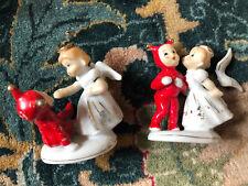 Vtg Set Of 2 Victoria Ceramics, Japan, Devil & Angel Figurine Kissing! L@K Now!