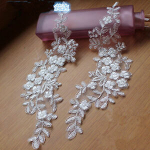 B227 2PC,Flowers Embroidered Lace Applique Trims for Sewing dress veil decor