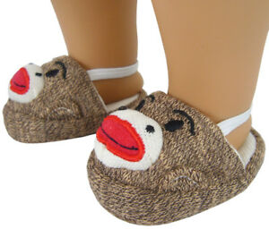 """Sock Monkey Scuff Slippers for 18"""" American Girl Doll Clothes Accessories"""