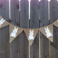 LD_ EE_ AM_ Easter Banner Decoration Burlap Bunting Garland Party Supply Photo