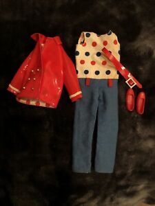 Vintage Barbie Skipper 1958 PATENT 'N PANTS~jumpsuit-Red Vinyl Jacket-Belt-Shoes