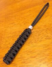BLACK GUTTED 550 Paracord Knife Lanyard METAL BEAD, Keychain *Combined Shipping*
