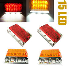 4 Red Amber 15 LED Side Marker Light Clearance Van Truck Trailer Bus Car 12V 24V