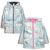 Kids Girls Baby Infant Teen Holographic Silver Jacket Coat Showerproof Raincoat