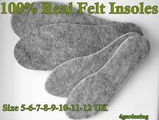 100% Real Felt Insoles Unisex Inserts Heat Saving Absorbing Odor Sweat