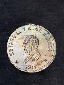 1915 Mexico Oaxaca Revolutionary Un Peso Silver Key Coin-Uncirculated