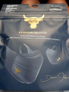 Project Rock Under Armour Sportsmask Face Mask 1368451 Navy Gold Size M/L
