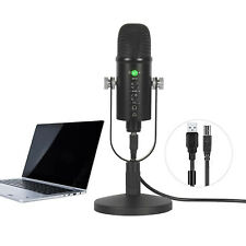 PC Microphone USB Computer Condenser Gaming Mic Plug and Play With Stand Black
