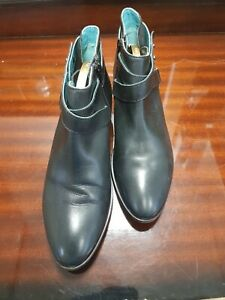 Moshulu Ladies Black Leather Ankle Boots Size 6