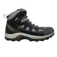 Salomon Goretex Leather Hiking Shoes Boots Men's Size 10 Black/Gray 404643