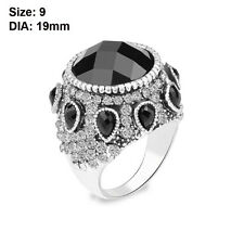 Bohemia Women Silver Plated Crystal Resin Wedding Jewelry Black Big Ring Gifts 9
