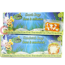 Disney Tinkerbell Fairies 45pc Sandwich Snack Bags Set Food Zip Bag