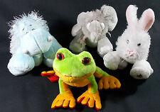Ganz Lil'Kinz Blue Hippo-Green TreeFrog-White Rabbit-Gray Elephant Lot 4 No Code