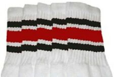 "22"" KNEE HIGH WHITE tube socks with BLACK/RED stripes style 3 (22-65)"