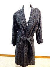 VINTAGE US MADE WOMENS GRAY & BLACK WOOL TWEED COAT SIZE XL
