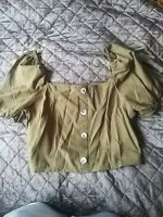 BNWT RIVER ISLAND Khaki Green Bardot Puff Sleeve Off Shoulder Blouse Top Size 16