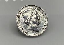 Antique Dutch William III 1862 1/2 Gulden Solid Silver Coin Brooch-Netherlands