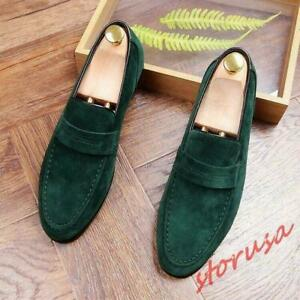 Men's Pointy Toe Suede Leather Slip On Loafers Dress oxford  Shoes Sz 6-11