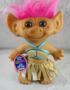 "Uneeda WISHNIK Island Bikini Troll Doll Gold Skirt 8"" Vintage Horseshoe Feet"