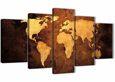 Vintage Old World Map - Brown Cream Canvas - Abstract Canvas Art - 5188 - 160cm