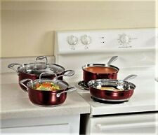 Metallic Red Stainless Steel Cookware 6-Pc Set