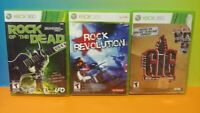 Rock of the Dead, Rock Revolution, Gig Rise -  Microsoft XBOX 360 Game Lot Works