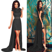 Sz 10 12 Cap Sleeve Black Lace Halter Sexy Formal Cocktail Party Gown Long Dress