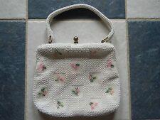 Vtg Madmen Lumured Retro 1950s Petite Bead Pink Roses White Corde Handbag Evc