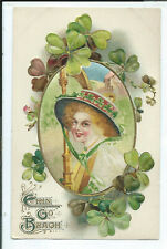 Postcard Holiday St. Patrick's Day Lady with Hat Silk Insert