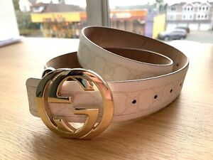 Authentic GUCCI Italy Leather Belt gold buckle Ivory GG Monogram Womens Small