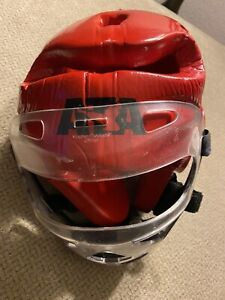 Men's Macho Eta Protective Padded Head Gear Helmet With Clear Face Mask Red