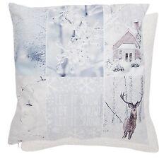 Housse de coussin neige neige cerf paysage d'Hiver Shabby Chic chalet vintage