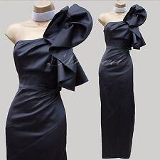KAREN MILLEN Black Satin One Shoulder Wedding Cocktail Pencil Long Maxi Dress 10