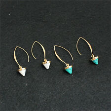 Fashion Women Inlay THld Plated Turquoise Natural Stone Earrings Hoop Dangle *TH