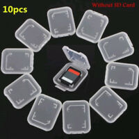 10pcs Transparent Standard SD SDHC Memory Card Case Holder Box Storage Useful'
