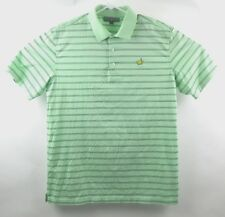 Masters Collection Polo Mens Golf Shirt Green Black Striped Pima Cotton Large