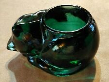 Indiana Glass Evergreen Sleeping Kitten Votive Candle Holder Heavy Excellent