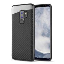 For Samsung Galaxy S9+ PLUS Black Carbon Fiber Hybrid Magnetic Back Case Cover