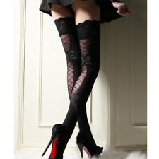Women Ultrathin Lace Top Over Knee Sheer Thigh High Fishnet Silk Sexy Stockings