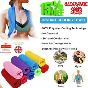 🔥Instant Double layer Ice Cold Gym Towel Sports Sweat absorb Cooling towel UK