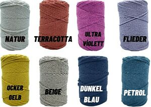 100% RECYCLED COTTON MACRAME YARN CORD 4 mm 8 Different Colours