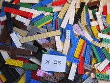 Lego 25 x Plate type brick - 2 pins wide - all over 1x5 Long in various colours