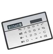 1Pcs 8 Digits Ultra Thin Slim Credit Card Solar Power Pocket Calculator White