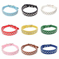 Dog Collar PU Leather Rhinestone 3 Row Diamante Bling Crystal Cat Puppy Pet UK