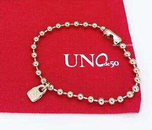 New Uno De 50 Gold Tone Beaded Chain Emotion logo Padlock Bracelet PUL1829ORO000