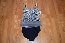NWT Womens GOTTEX White Gray Black Geometric Tankini 2 Pc Swim Suit Sz 18