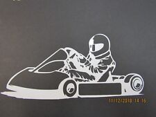 "Racing Window Decals - Go-Kart   8 1/2"" Long x 4"" tall  -  White Vinyl"